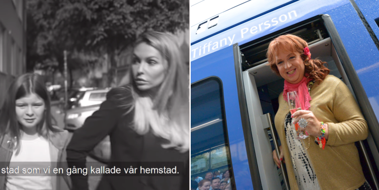 Skärmdump från reklamfilmen t.v. Tiffany Persson t.h.