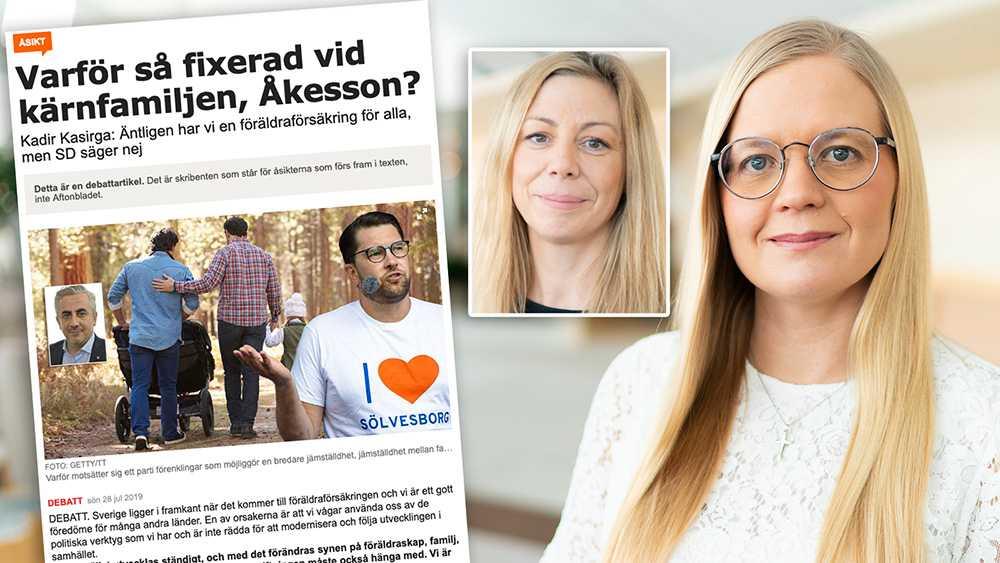 Till skillnad från Socialdemokraterna ser vi inget syfte med att nedvärdera kärnfamiljen, skriver Julia Kronlind och Linda Lindberg (SD).