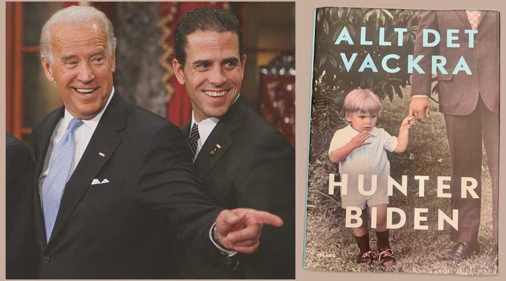 """Joe och Hunter Biden och Hunters bok """"Allt det vackra"""" som handlar om hans uppväxt och liv."""