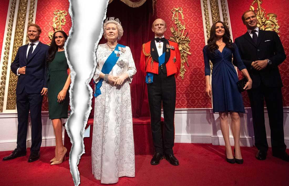 Prins Harrys och Meghan Markles vaxfigurer står inte längre med den övriga familjen.