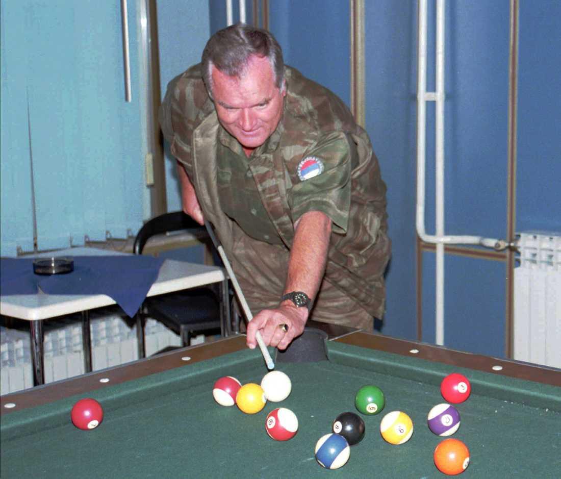 Mladic spelar biljard under en paus i möte med FN-förhandlare i september 1995