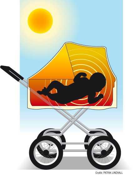 En filt över vagnen kan vara livsfarligt. Blir bebisens hud varmare än kroppen, kan andningen upphöra.