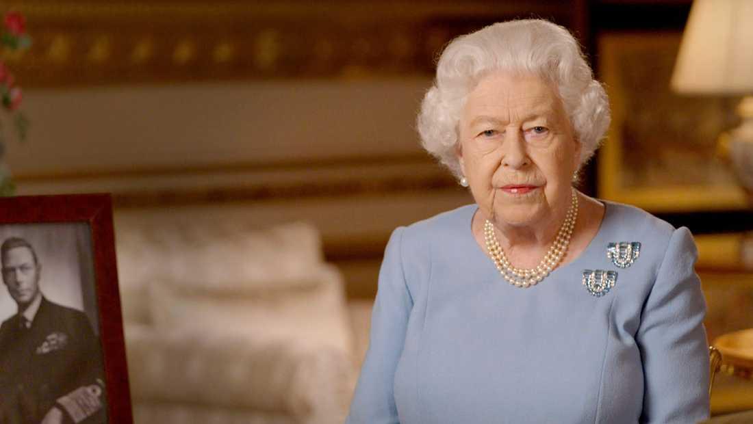 Storbritanniens drottning Elizabeth höll ett tv-tal från Windsor Castle som sändes på segerdagens kväll.