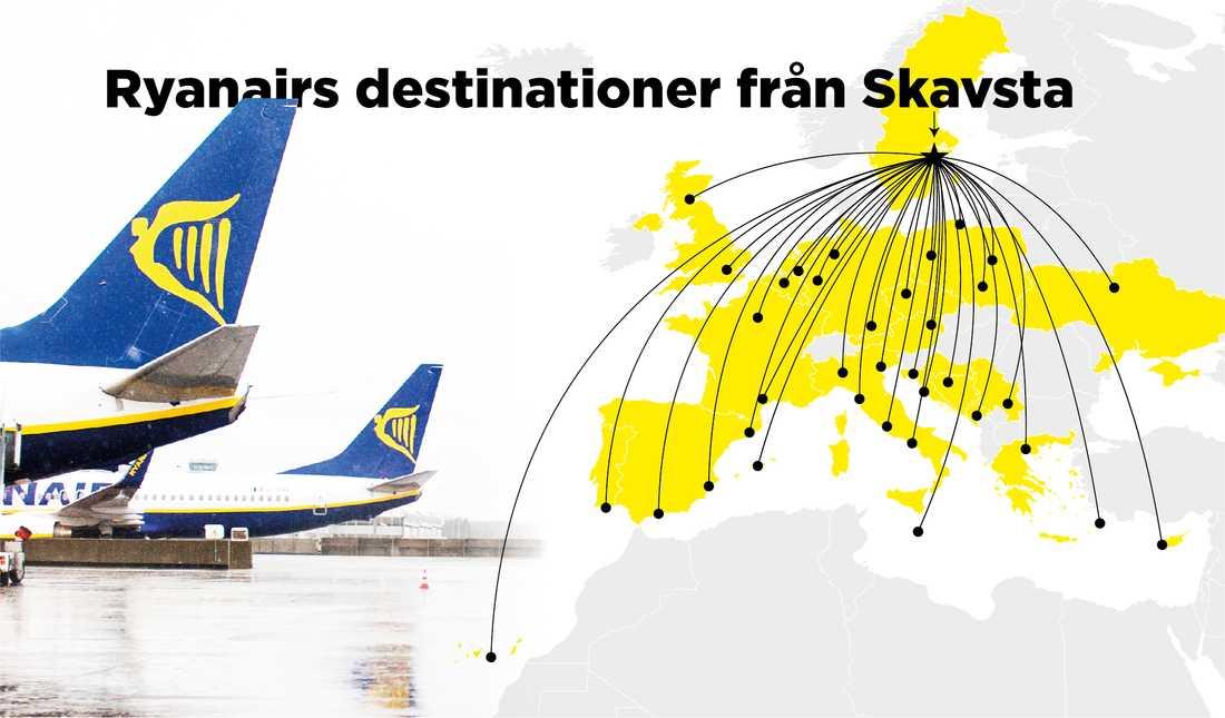 I dag har Ryanair ett 30-tal flyglinjer från flygplatsen.
