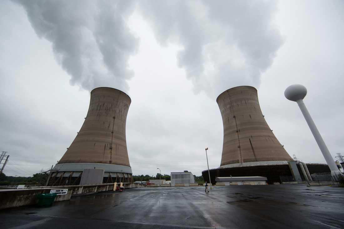Kyltornen vid kärnkraftsverket på Three Mile Island utanför Harrisburg. Arkivbild.
