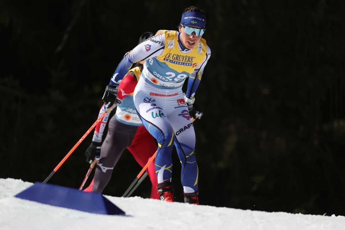 Charlotte Kalla under 10 kilometer fri stil på skid-VM i Oberstdorf.