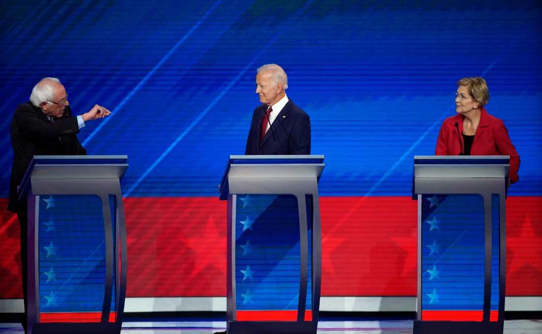 Bernie Sanders, Joe Biden och Elizabeth Warren.