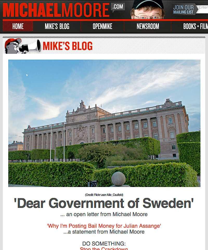 Michael Moores hemsida. Klicka för större bild.