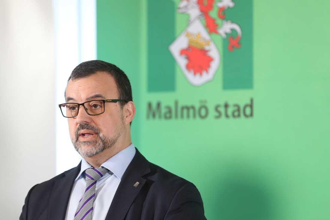 Per-Erik Ebbeståhl, ledningsstrateg, under Malmö stads pressträff om coronavirusets utveckling.