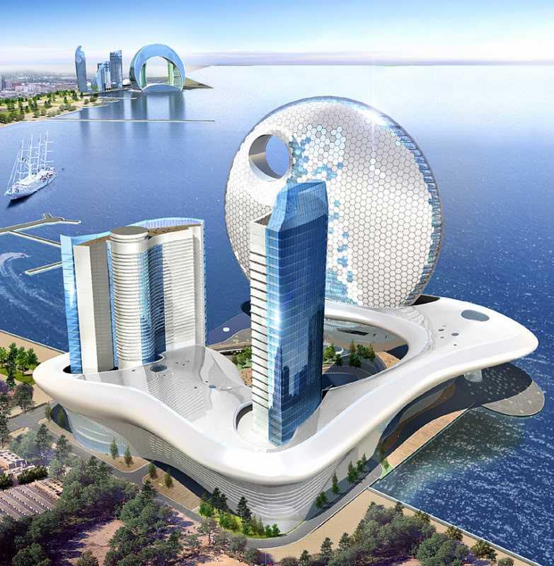 Full Moon Hotel och Hotel Crescent (i bakgrunden) ligger på varsin halvö vid Kaspiska havets strand, mitt i Baku.