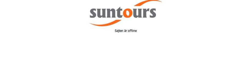 Nedsläckt. Suntours sajt hade stängts ner på torsdagseftermiddagen.