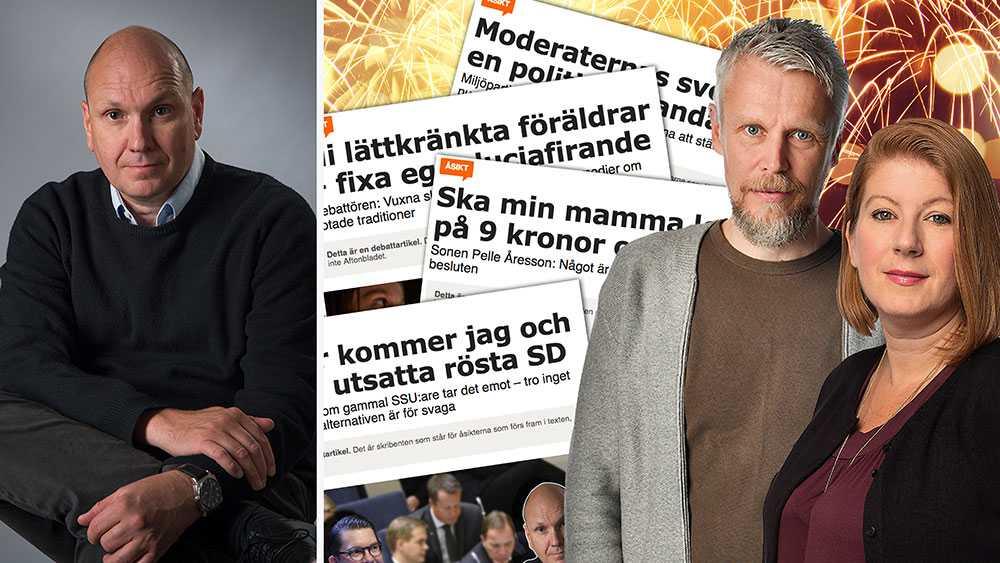 Jonas Thornell, 53, (till vänster) skrev den mest lästa debattartikeln på Aftonbladet 2018. Till höger Aftonbladet Debatts redaktörer Kristofer Forssblad Olsson och Susanna Vidlund.