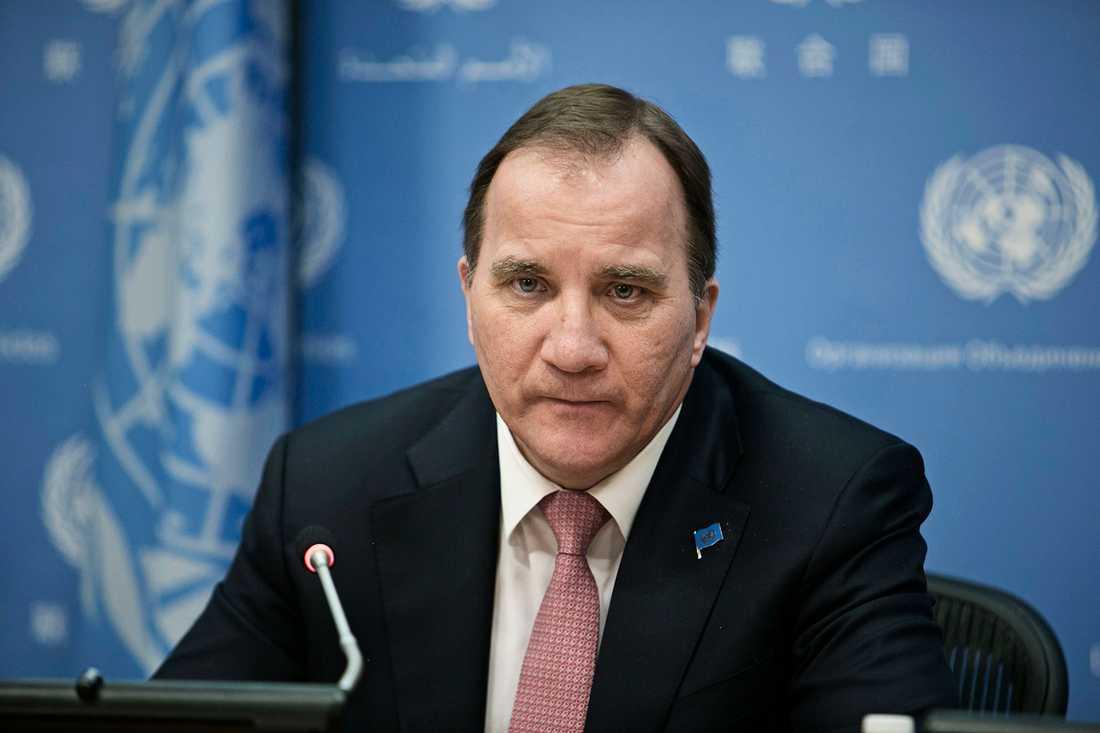 Stefan Löfven i FN:s högkvarter.