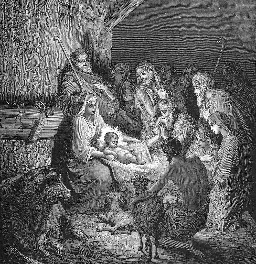 JESU FÖDELSE I KRUBBAN Träsnitt av franske konstnären Gustav Doré (1832-1883).