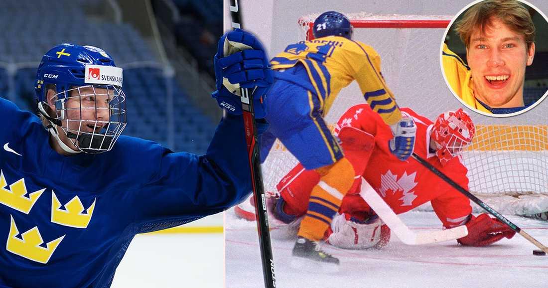 Rasmus Dahlin, 17, kommer skriva svensk OS-historia som yngste spelaren i Tre Kronor. Peter Forsberg var 20 år när han slog frimärkes-straffen på Corey Hirsch.