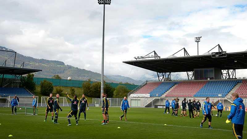 Landslaget tränar på Rheinpark Stadion i Vaduz.