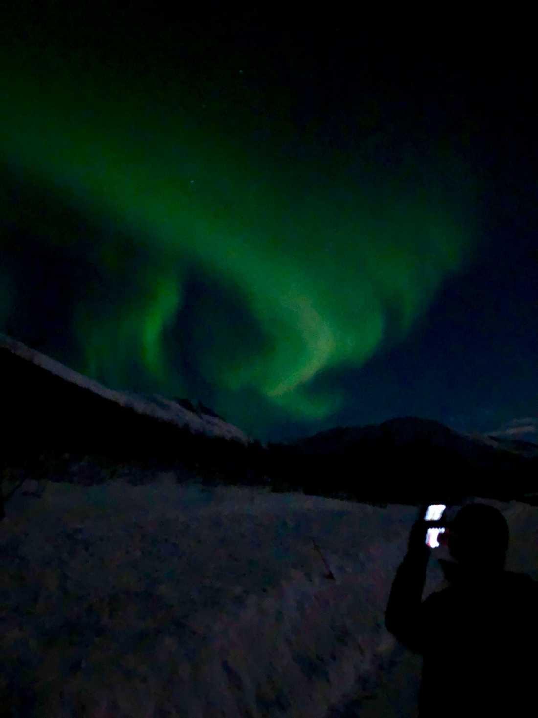 """""""Nordlys i sörsverige"""", skriver en läsare som har skickat in den här bilden på kvällens norrsken."""
