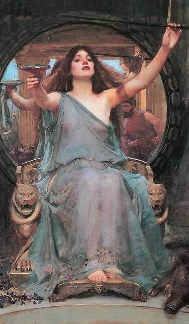 """""""Kirke räcker bägaren till Odysseus"""", målning från 1891 av John William Waterhouse."""