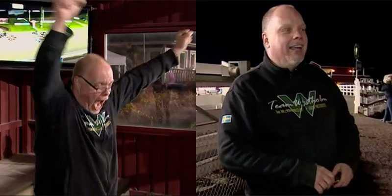 Mikael Eriksson skrek ut sin glädje  efter V75-segern med Pappajonnys Ilse.
