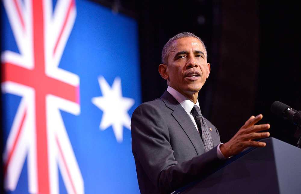 """""""Kan USA och Kina, så kan världen komma överens om klimatet"""", var Barack Obamas budskap."""
