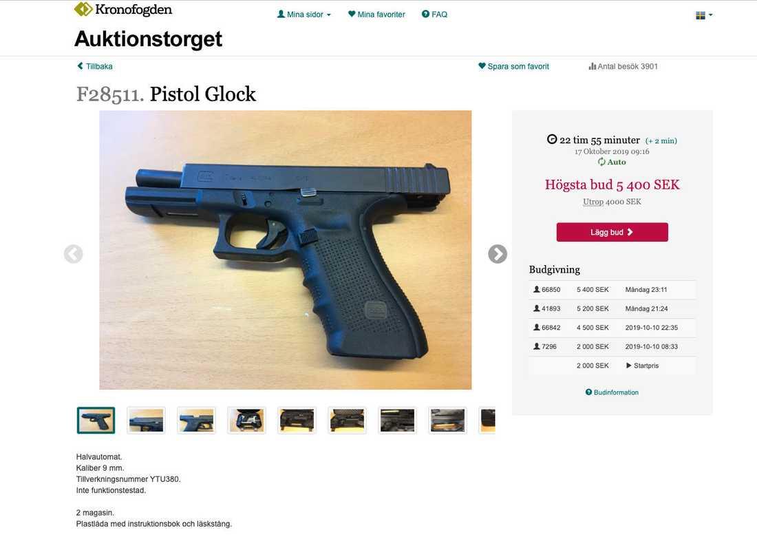 En pistol till salu hos Kronofogdemyndigheten.