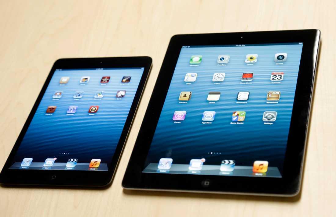 Under våren 2013 väntas Ipad 5 och Ipad Mini med retinaskärm lanseras. (På bilden föregångarna Ipad Mini och Ipad 4).