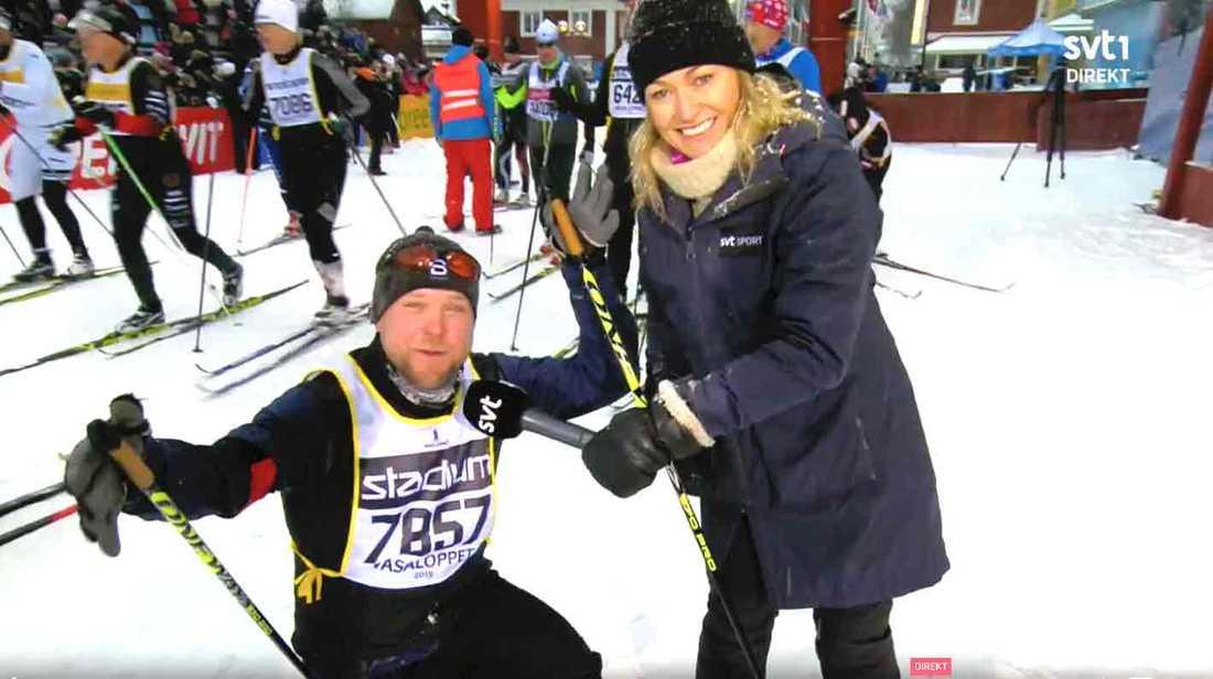 Per Nyberg från SVT:s Morgonstudion friade till sin sambo efter Vasaloppet.