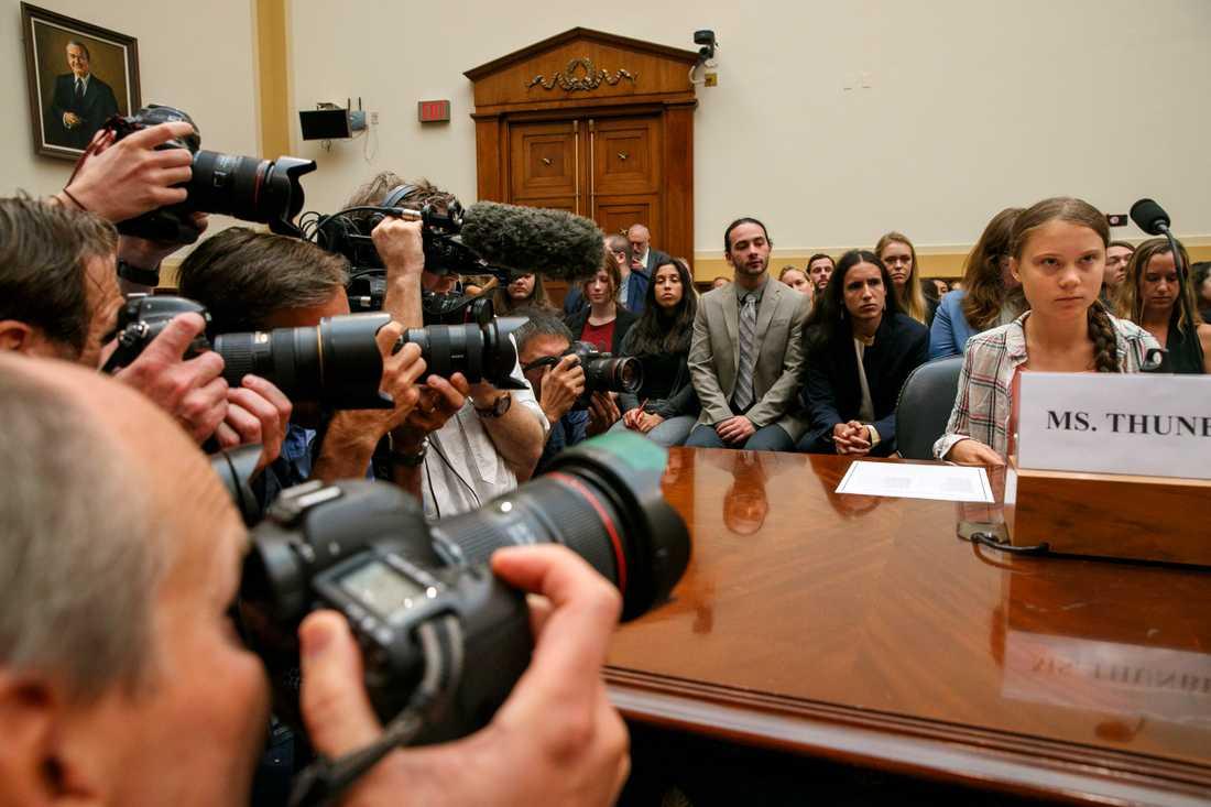 Greta Thunberg i amerikanska kongressen.