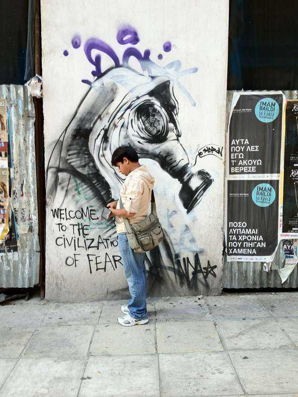 Atens anarkister erövrar gatorna med graffiti och väggmålningar. Foto: Kristoffer Viita/Ida Therén