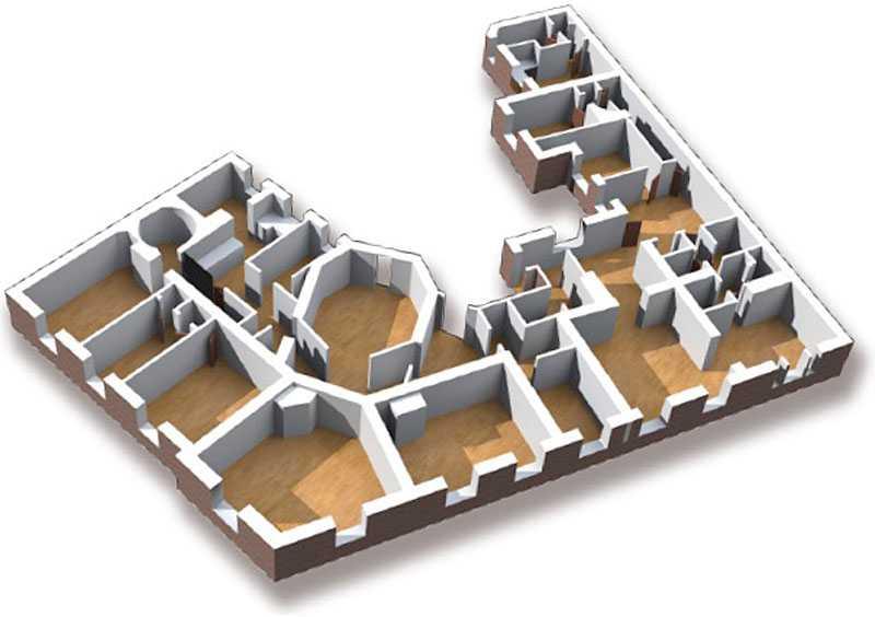Planlösningen för 15-rummaren.