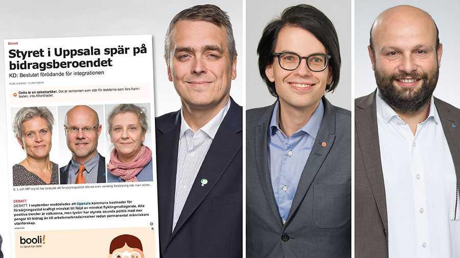 De kraftigt minskade kostnaderna för Uppsala kommuns försörjningsstöd är en positiv trend. Men företrädarna för KD far med osanning om anledningarna och förbiser många viktiga åtgärder som genomförts, skriver Mohamad Hassan, Klas-Herman Lundgren och Charles Pylad.