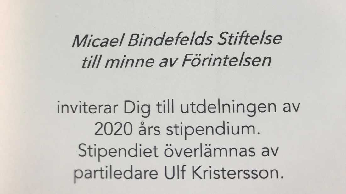 Inbjudan från Micael Bindefelds stiftelse.