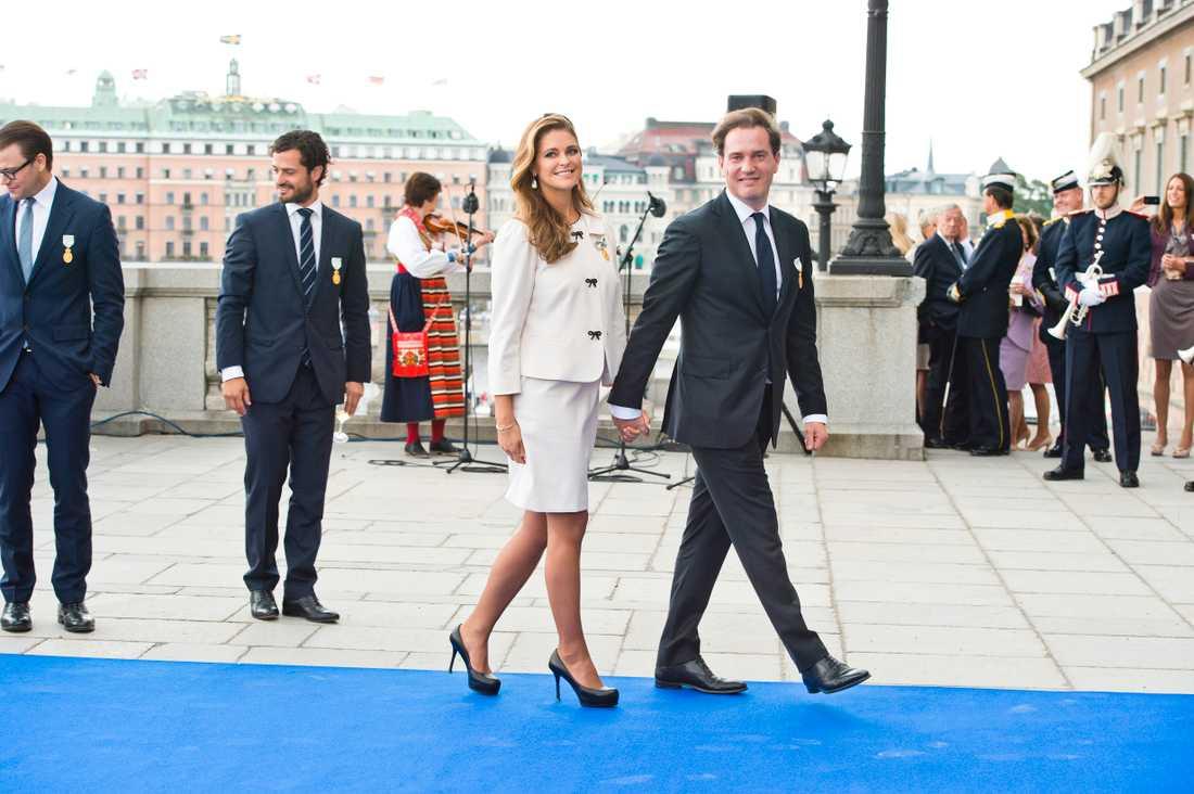 Kungen 40 år på tronen Madeleine och Chris på Lejonbacken vid Stockholms Slott den 15 september 2013.