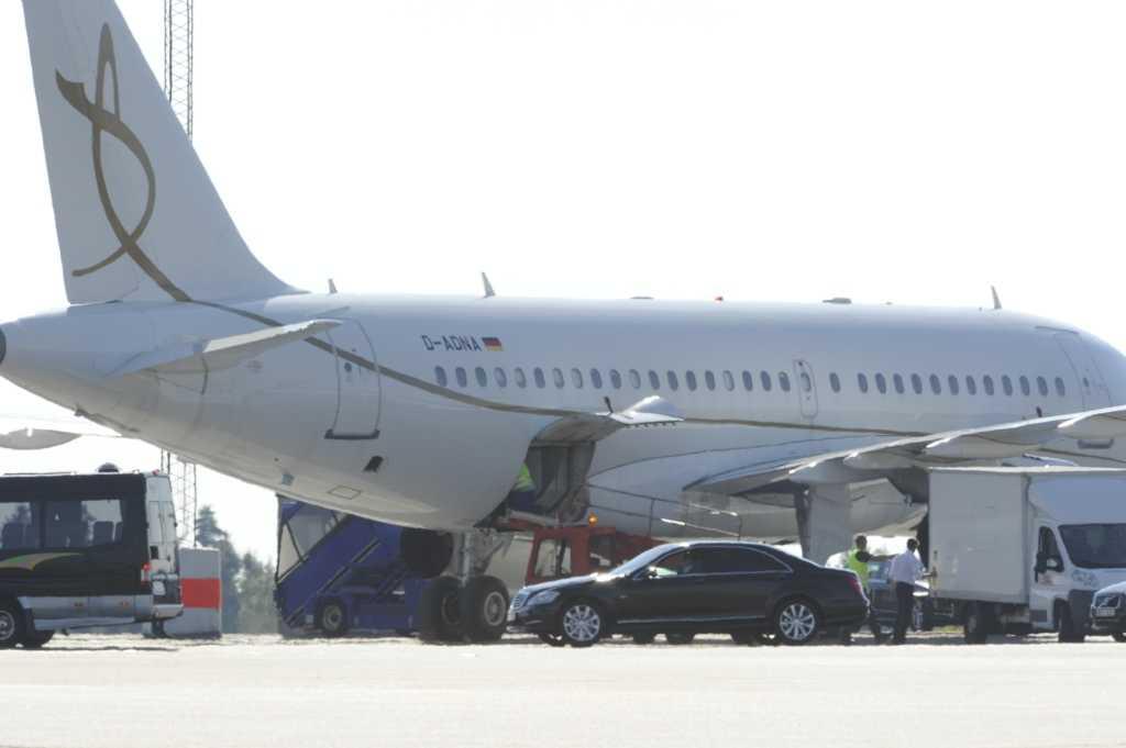 Springsteen anlände till Landvetter flygplats vid 17-tiden.