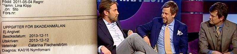 Udda diagnos Tv-profilerna Filip Hammar och Fredrik Wikingssons häst, som de deläger tillsammans med Peter Forsberg, lider av översexualitet.