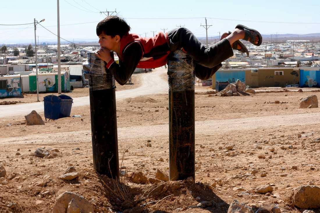 En pojke i det syriska flyktinglägret Zaatari i Jordanien. Arkivbild.