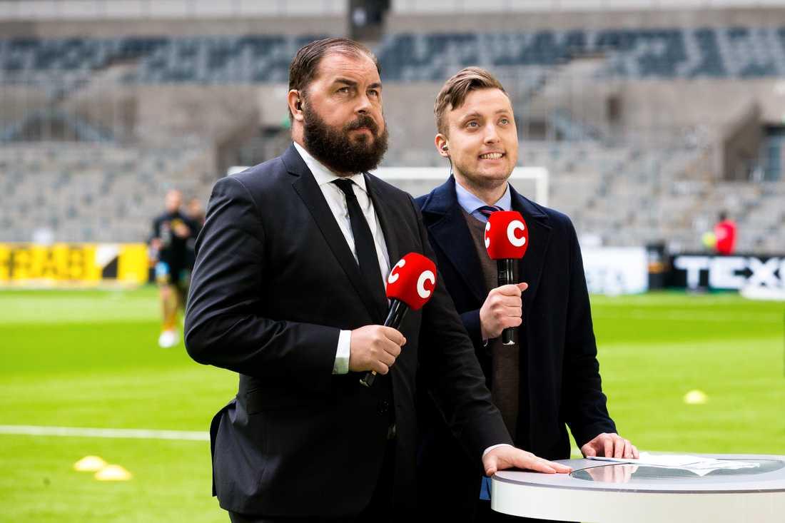 Alexander Axén och Axel Pileby under en allsvensk sändning.