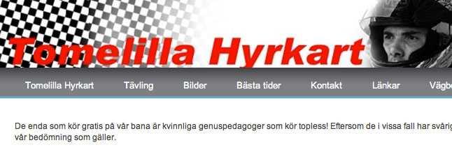 """""""Erbjudandet"""" på Tomelilla hyrkarts hemsida."""