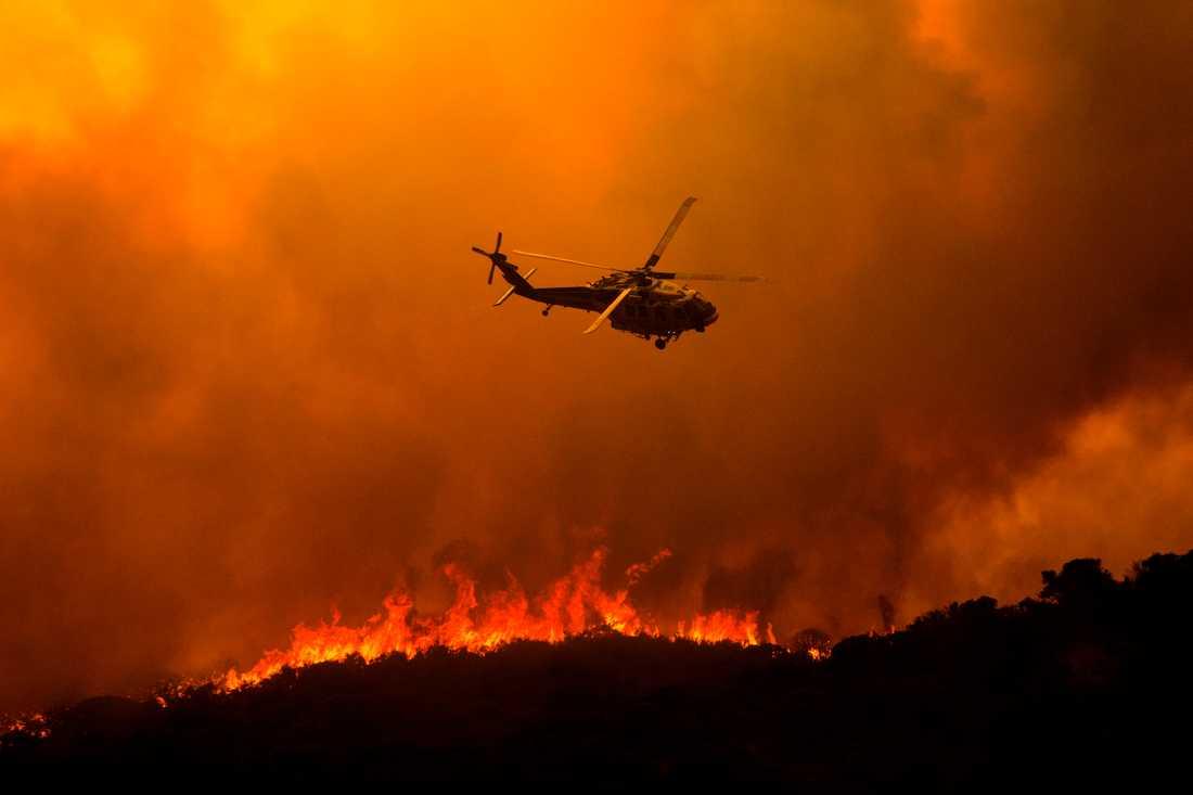 En helikopter vid släckningsarbetet vid branden Lake Hughes norr om Santa Clarita.
