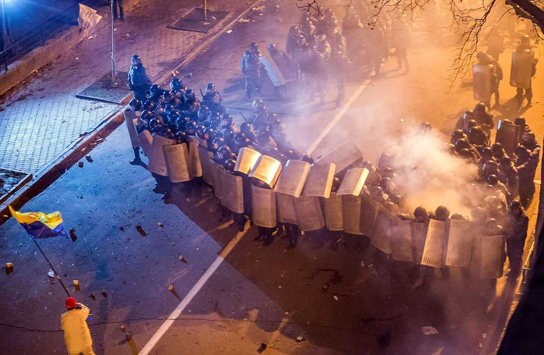 Kravallpolis i Kiev.