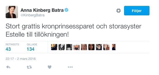 grattis till tillskottet Politiker gratulerar till det kungliga tillskottet | Aftonbladet grattis till tillskottet