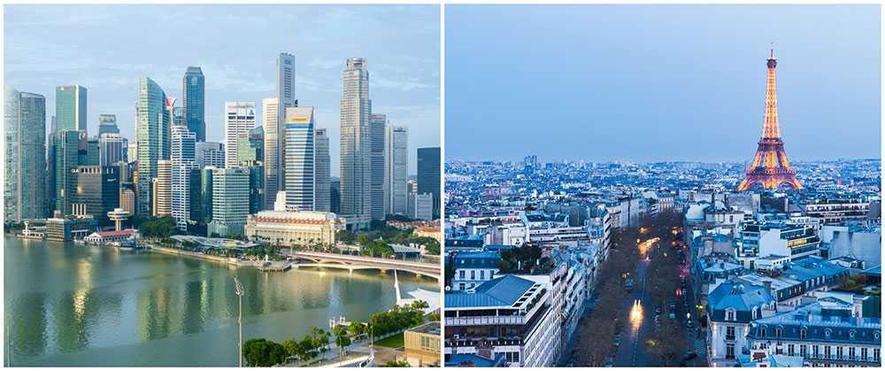 Singapore och Paris är världens dyraste städer.