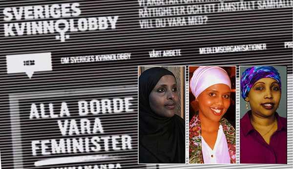 Sveriges Kvinnolobbys stöd till Amineh Amineh Kakabaveh uppvisar både okunskap och illvilja, skriver debattörerna. Tidningen Expo avslöjade i april att riksdagsledamoten hade spridit en film med rasistiskt innehåll. Tre av debattörerna, från vänster: Ayaan Mohammud, Najma Ali och Ifrah-Degmo Mohamed.