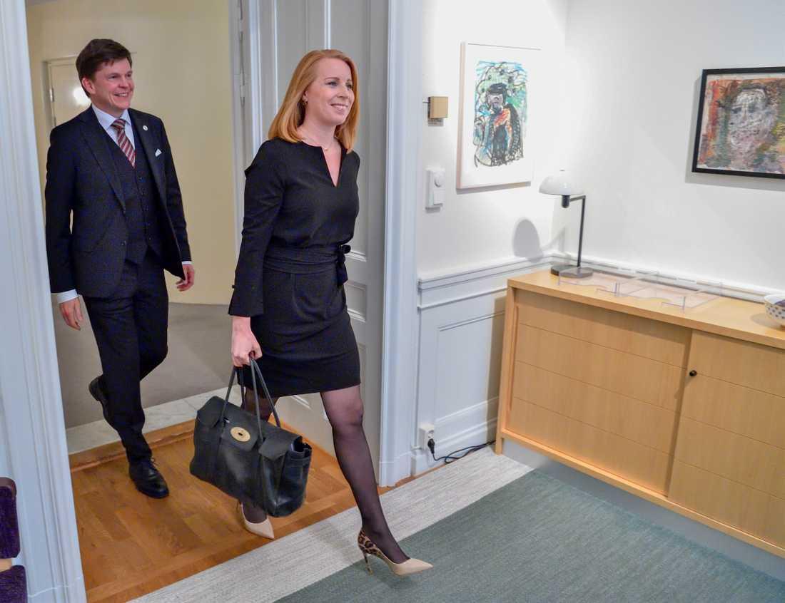 Annie Lööf i ett tidigare möte med talmannen