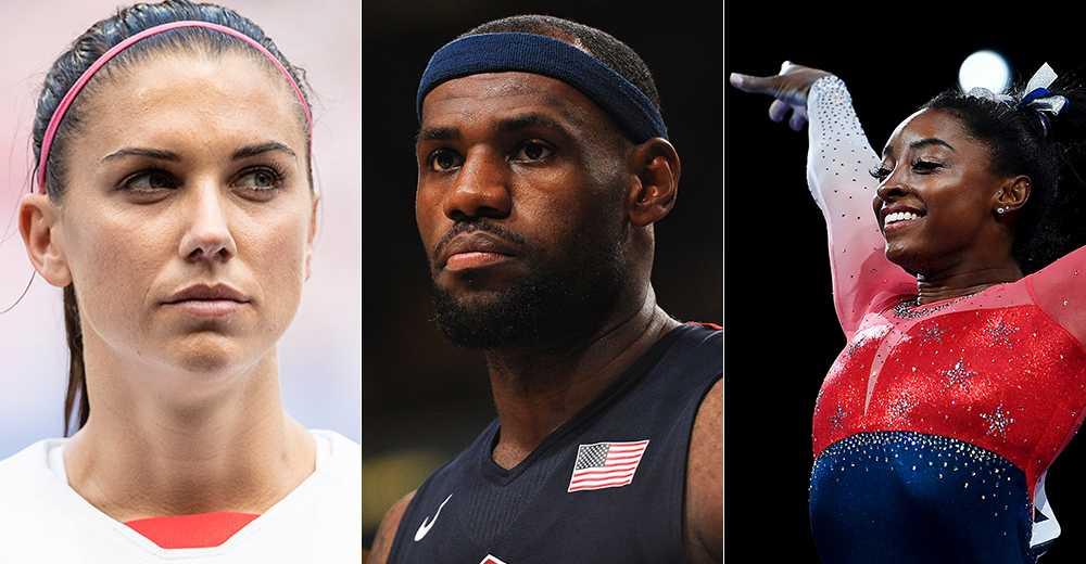 Tre amerikanska storstjärnor – Alex Morgan, LeBron James och Simone Biles.