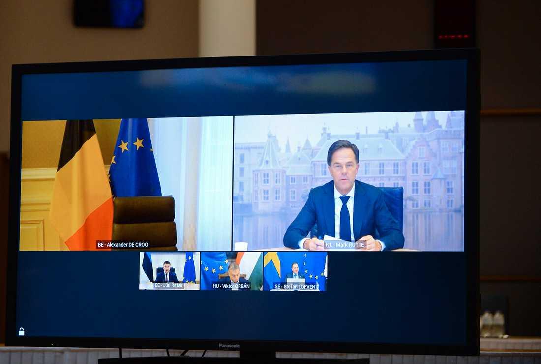 Mark Rutte sitter kvar fram till nyvalet den 17 mars. Bild från i december.