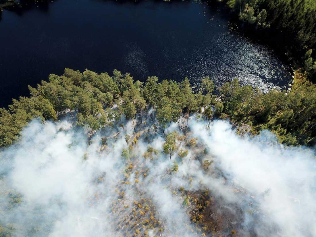 Skogsbrand vid Rådasjön i Marks kommun.