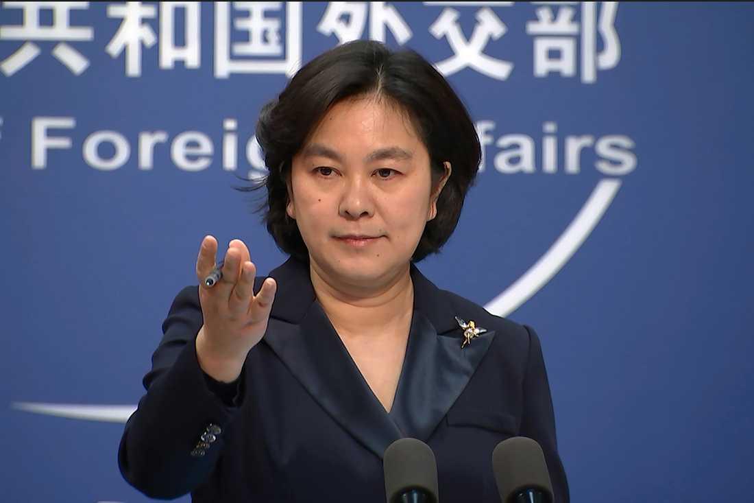 Det kinesiska utrikesdepartementets talesperson Hua Chunying berättar om sanktioner mot bland andra USA:s före detta utrikesminister Mike Pompeo.