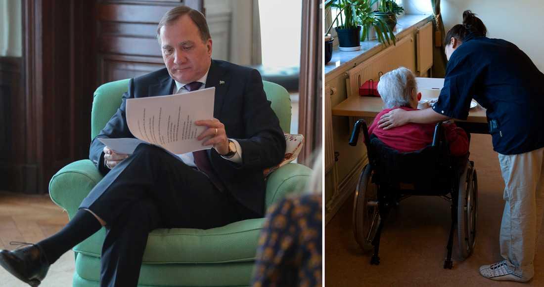 Stefan Löfven skriver på Facebook att anställda inom äldreomsorgen ska få sin utbildning betald.