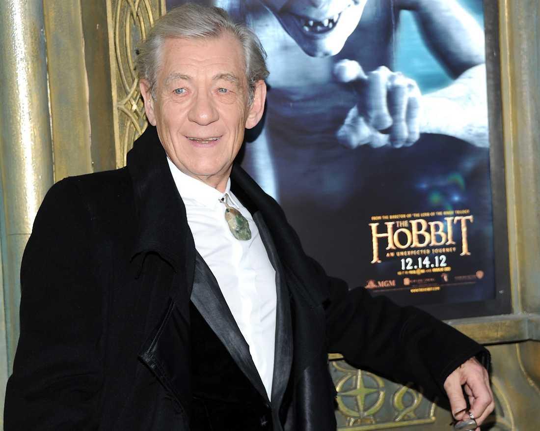 """Ian McKellen på premiären av """"Hobbit: En oväntad resa"""" 2012."""